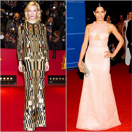 Cate in Givenchy; Freida in Thakoon