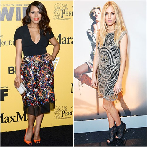 Kerry in Sportmax; Sienna in Kate Moss for Topshop