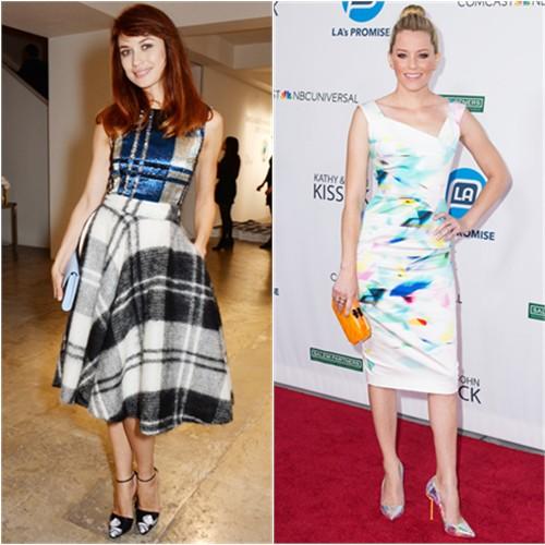 Olga in Dior; Elizabeth in Roland Mouret