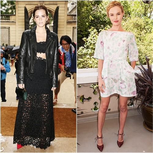 Emma in BLK DNM/Dior, Kate in Valentino
