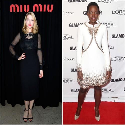 Léa in Miu Miu; Lupita in Chanel
