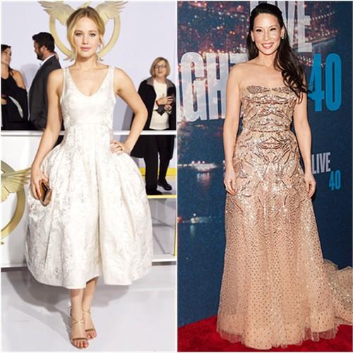 Jennifer in Dior; Lucy in Zuhair Murad