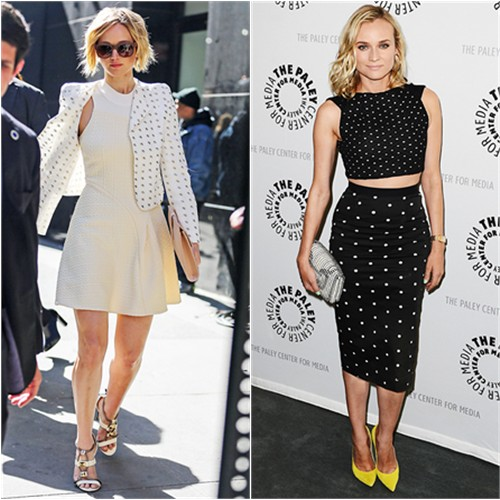 Jennifer in Chloé/3.1 Phillip Lim; Diane in Roland Mouret