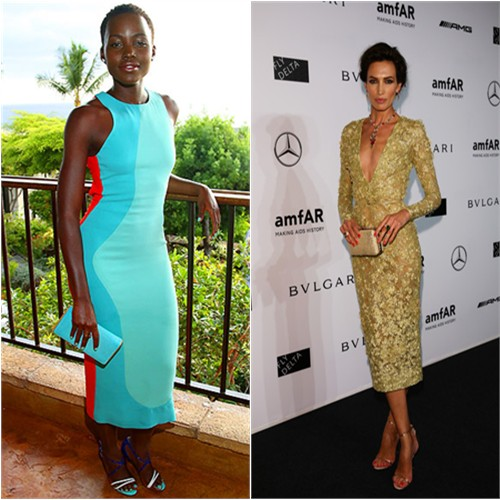 Lupita in Calvin Klein; Nieves in Elie Saab