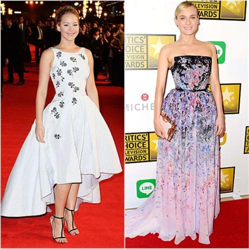 Jennifer in Dior; Diane in Elie Saab