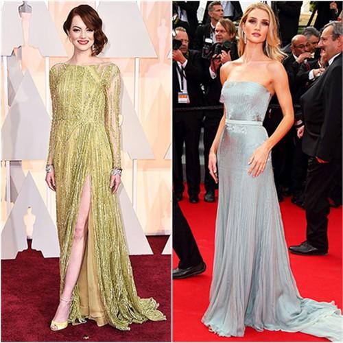 Emma in Elie Saab; Rosie in Gucci Première