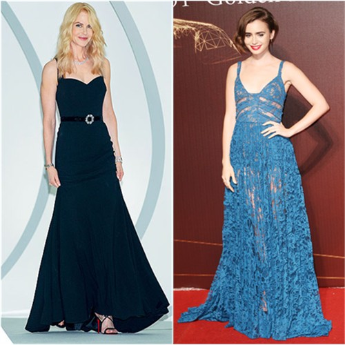 Nicole in Dolce & Gabbana; Lily in Elie Saab