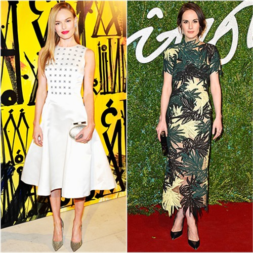 Kate in Dior; Michelle in Erdem