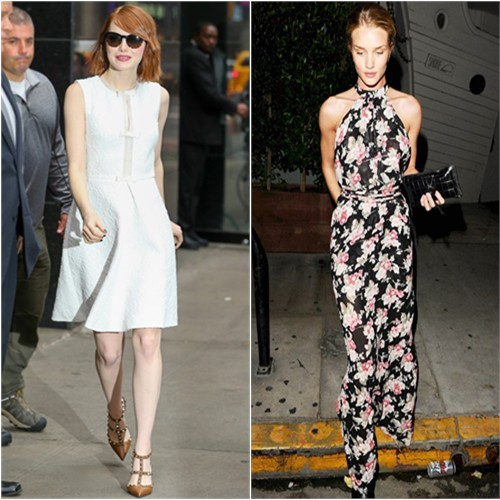 Emma in Giambattista Valli; Rosie in Reformation