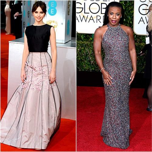 Felicity in Dior; Uzo in Randi Rahm