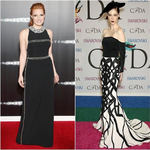 Jessica in Prada; Coco in Christian Siriano