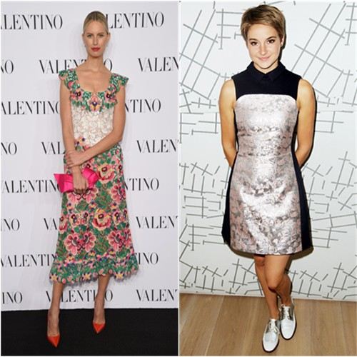 Karolina in Valentino; Shailene in Mary Katrantzou