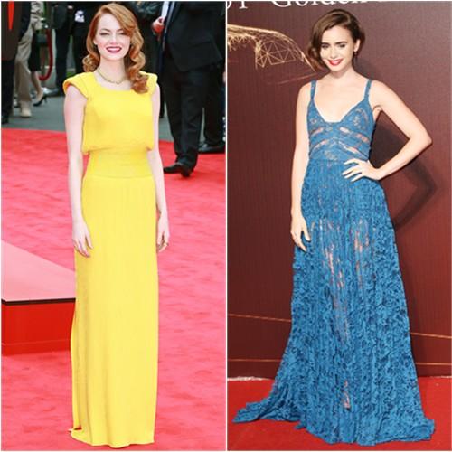 Emma in Atelier Versace; Lily in Elie Saab