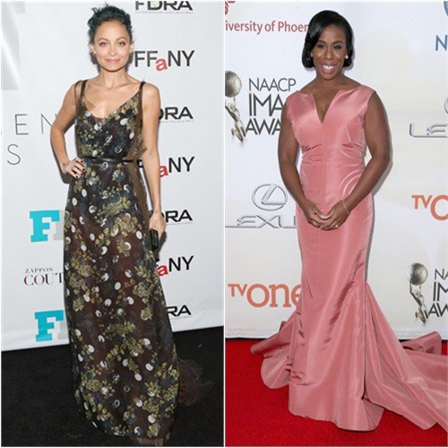Nicole in Vera Wang; Uzo in Zac Posen
