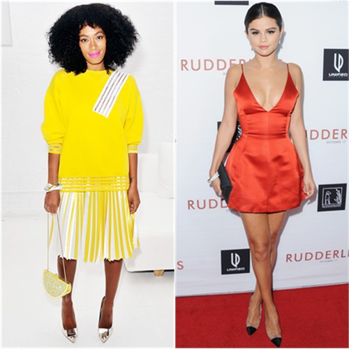Solange in Christopher Kane; Selena in Dior