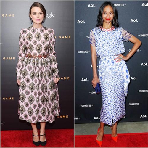 Keira in Dolce & Gabbana; Zoe in Roksanda