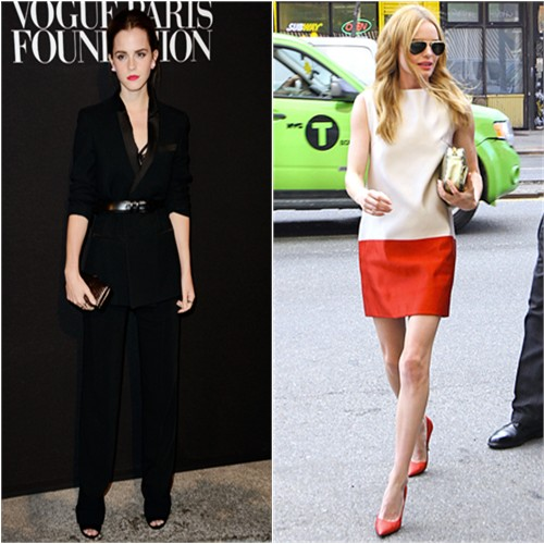 Emma in Givenchy; Kate in Katie Ermilio