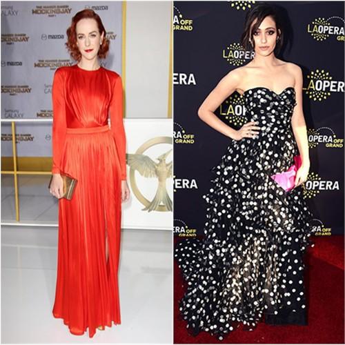 Jena in Emanuel Ungaro; Emmy in Oscar de la Renta