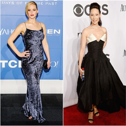 Jennifer in Jason Wu; Lucy in Vivienne Westwood
