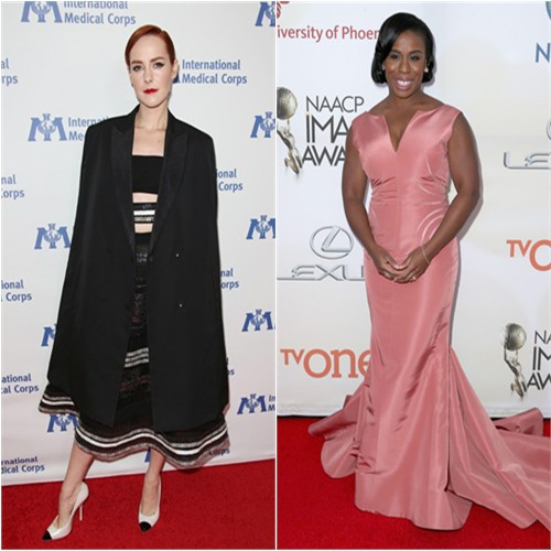 Jena in Reem Acra; Uzo in Zac Posen