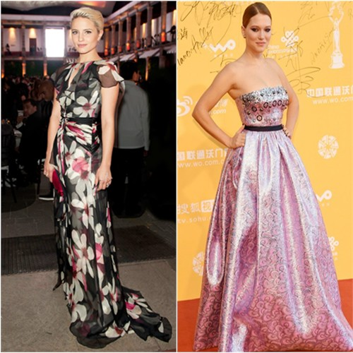 Dianna in Carolina Herrera; Léa in Miu Miu