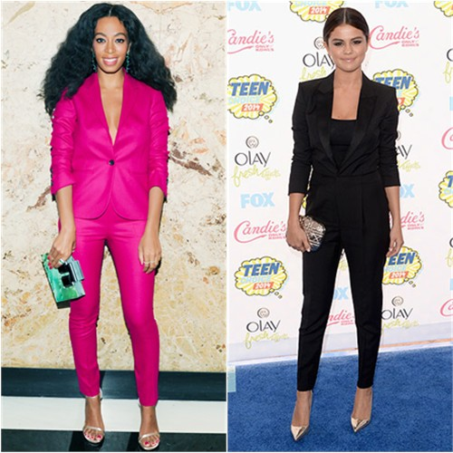 Solange in Gucci; Selena in Saint Laurent