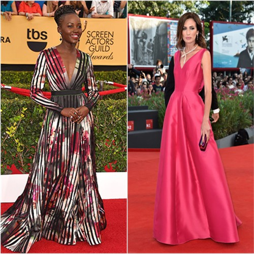 Lupita in Elie Saab; Nieves in Antonio Berardi