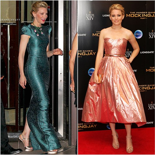 Cate in Armani Privé; Elizabeth in Monique Lhuillier