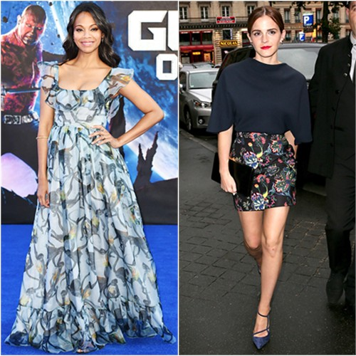 Zoe in Valentino; Emma in Dior