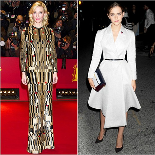 Cate in Givenchy; Emma in Dior