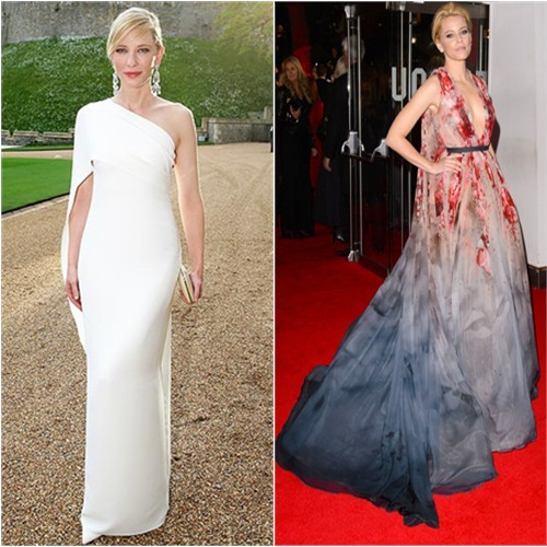 Cate in Ralph Lauren; Cate in Elie Saab