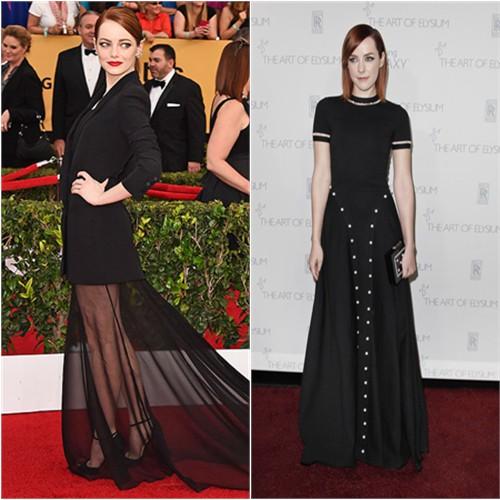 Emma in Dior; Jena in Adam Selman