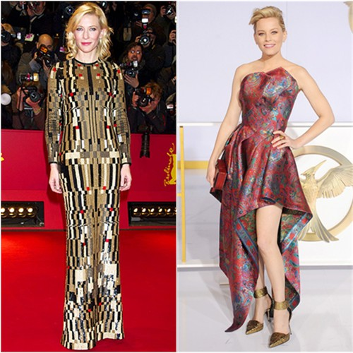 Cate in Givenchy; Elizabeth in Leonard
