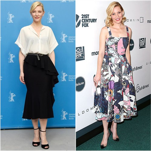 Cate in Givenchy; Elizabeth in Mary Katrantzou