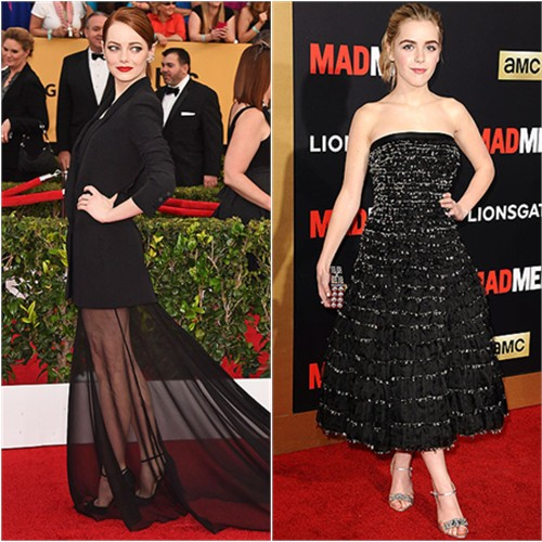 Emma in Dior; Kiernan in Miu Miu
