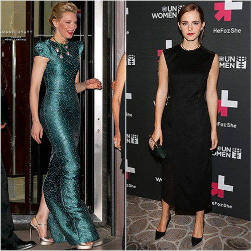 Cate in Armani Privé; Emma in Hugo Boss