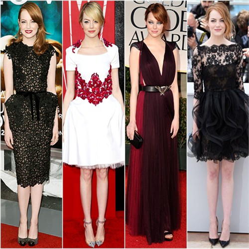 Emma Stone in Tom Ford, Chanel, Chanel, and Oscar de la Renta